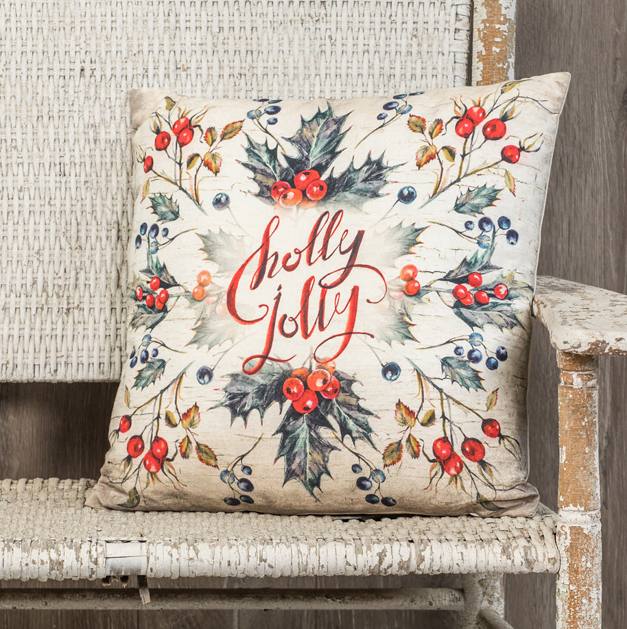 Holly Jolly Pillow with Slate Blue Holly & Red Berries