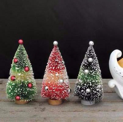 Mini Snowcone Bottle Brush Trees