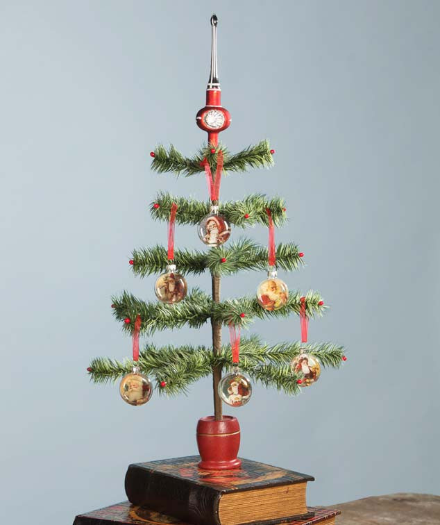 Small Green Feather Tree Shown with Optional Ornaments & Tree Topper
