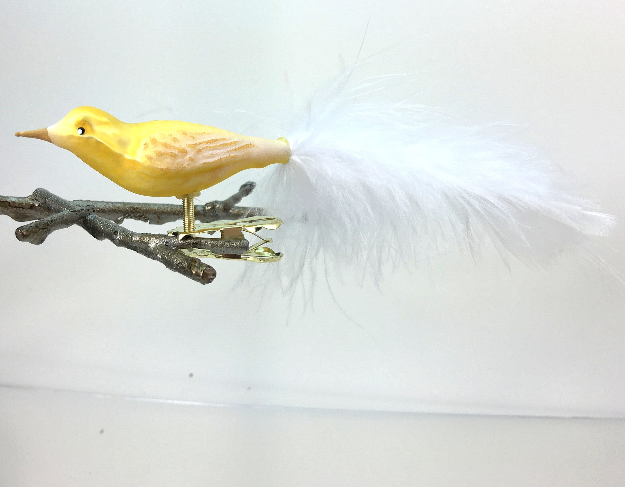 Small Yellow Bird with White Feather Tail Ornament Clip