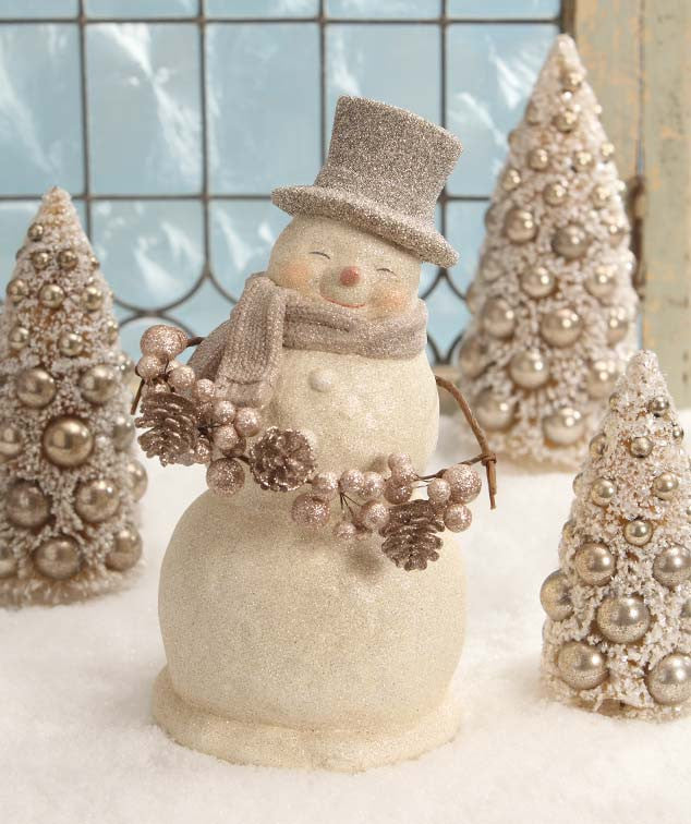 Bethany Lowe Smiley Snowman with Garland Figurine