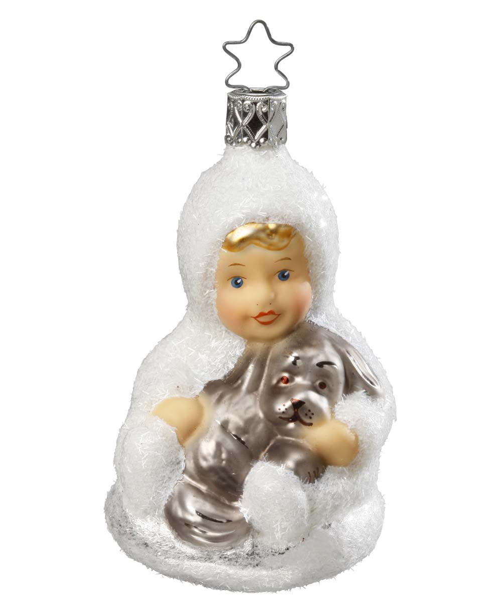 Special Friends - Snow Girl with Dog Ornament