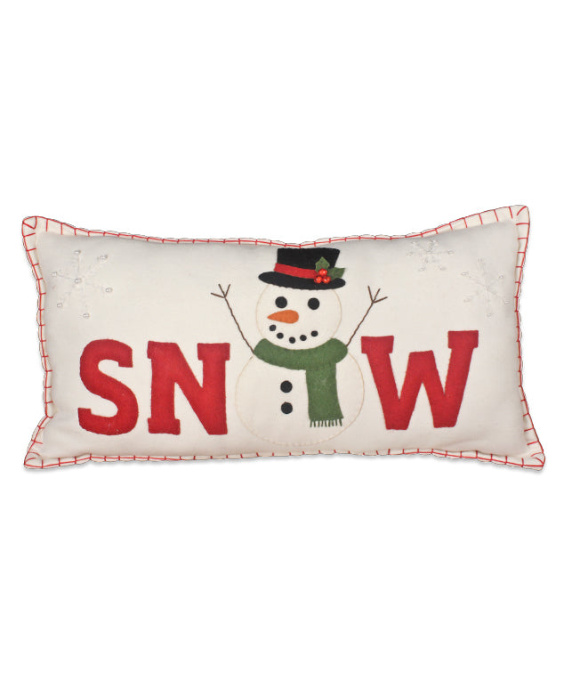 Snow Applique Felt Pillow with Snowman