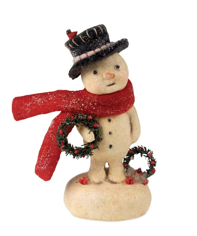Snowman with Wreath Figurine