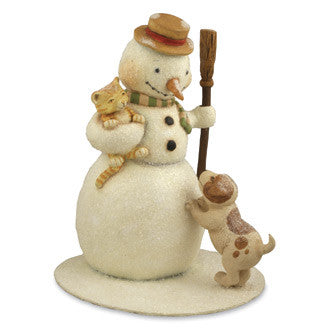 Snowman with Cat and Dog