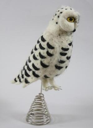 Snowy Owl Felt Tree Topper - Felted Wool