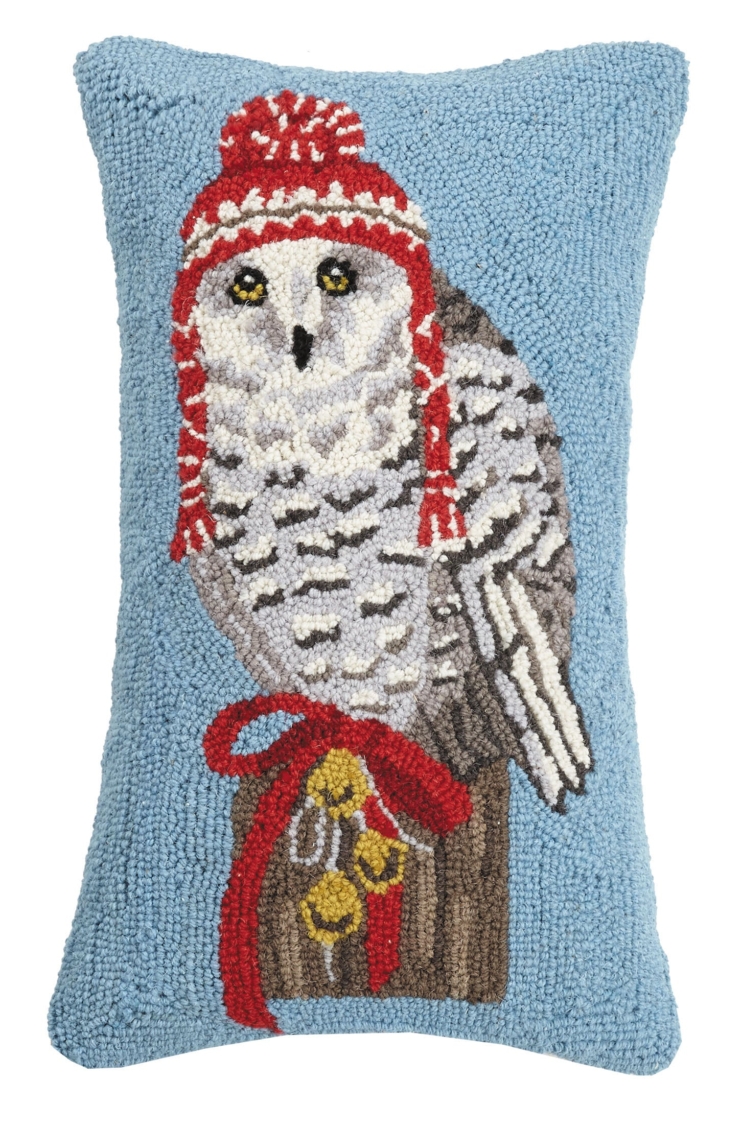Snowy Owl with Hat Hooked Pillow