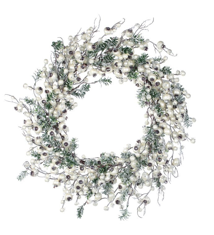 Snowy Pearl Crabapple and Boxwood Wreath