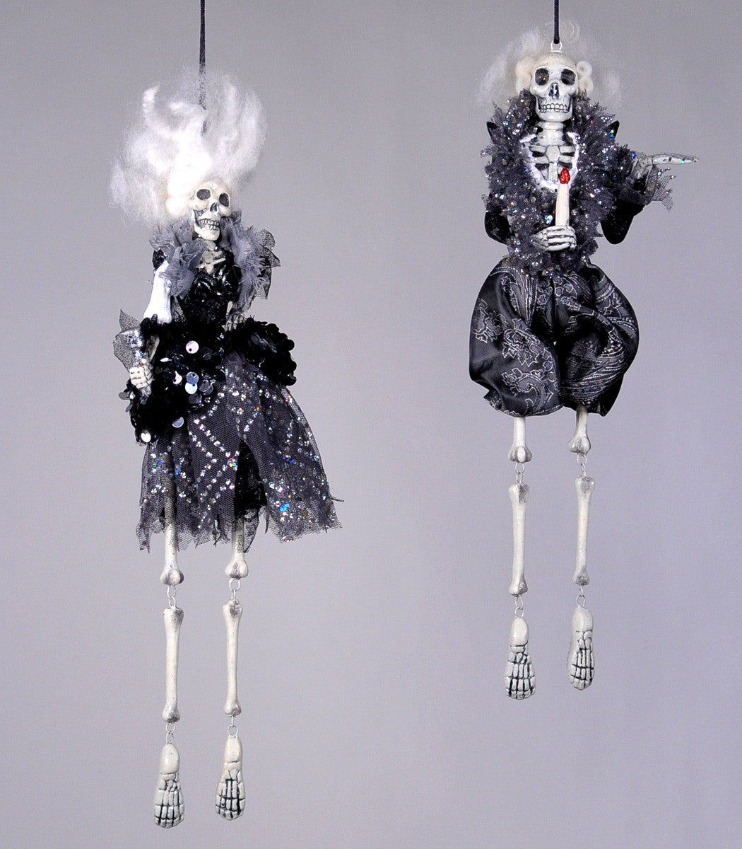Hollywood Rock Star Skeleton Dangle Ornaments - Katherine's Collection Halloween