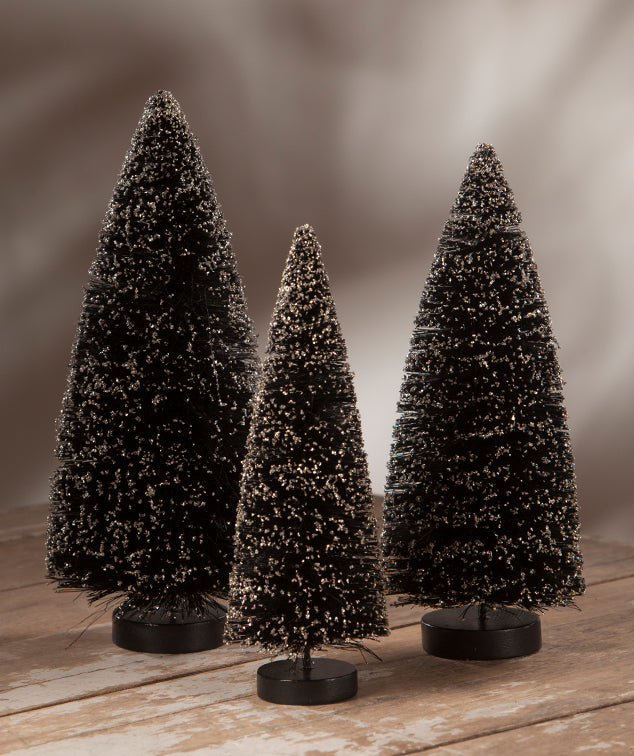 Spooky Black Bottle Brush Trees With Glitter Halloween Decorations