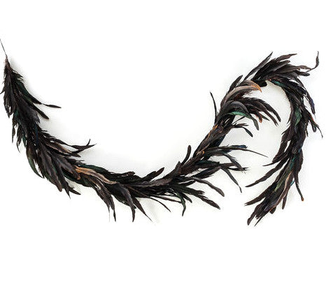 Spooky Feather Garland - Black Feather Halloween Garlands
