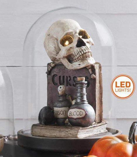 Spooky Skull Cloche with LED Light - Curses Inside Glass Dome