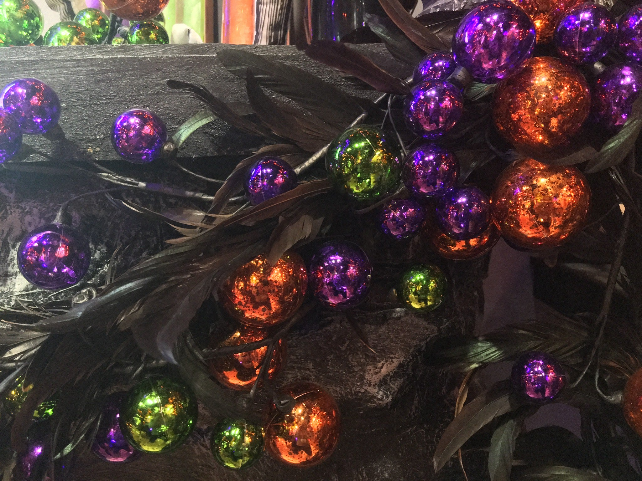 Feather Halloween Garland with Purple, Orange and Green Balls