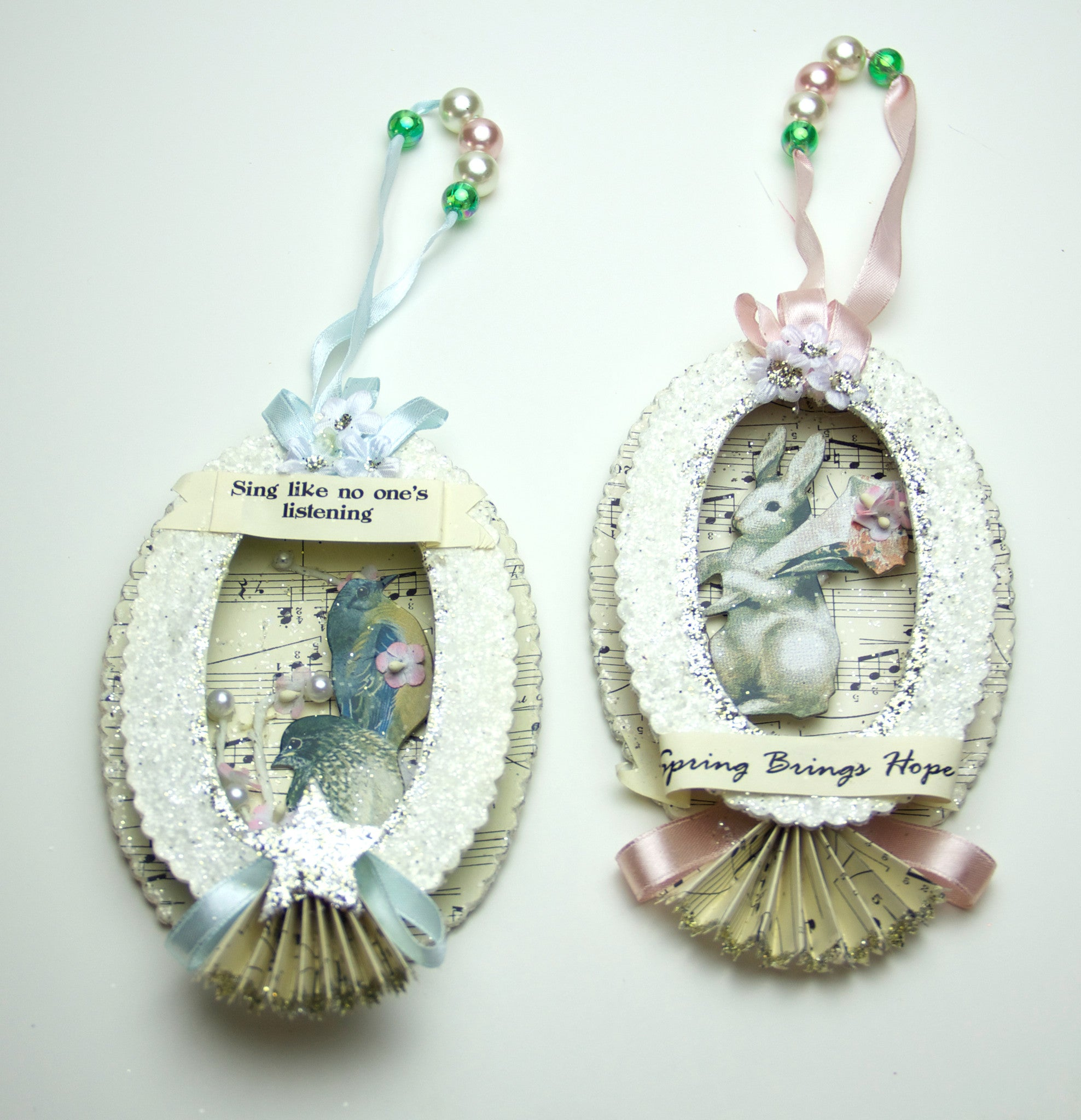 Oval Spring Shadow Box Ornaments by Bethany Lowe