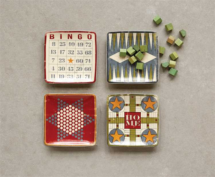 Square Vintage Board Game Dishes