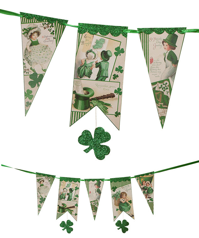 St. Patricks Day Pennant Garland with Vintage Images
