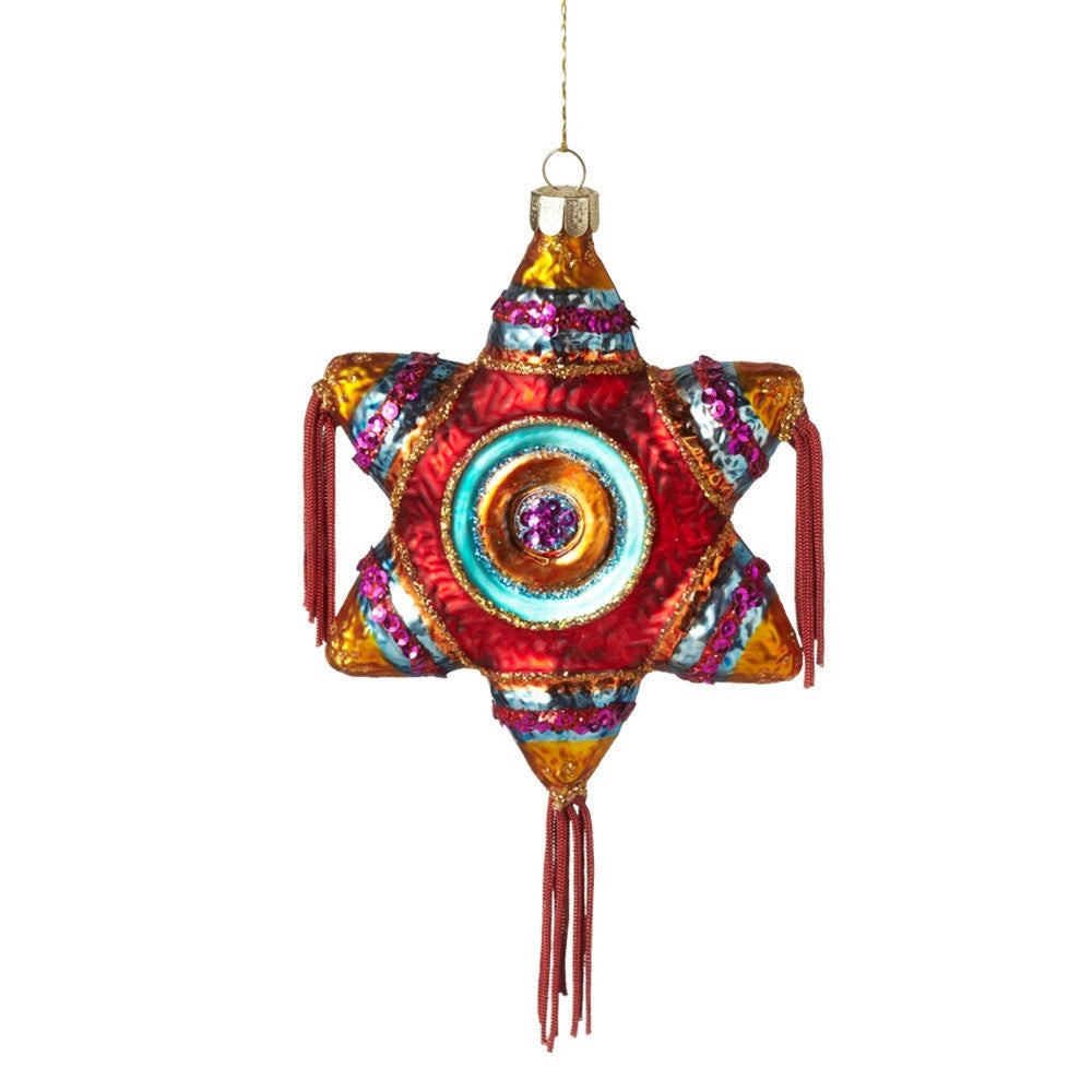 Star Pinata Day of the Dead Ornament - Glass Decoration