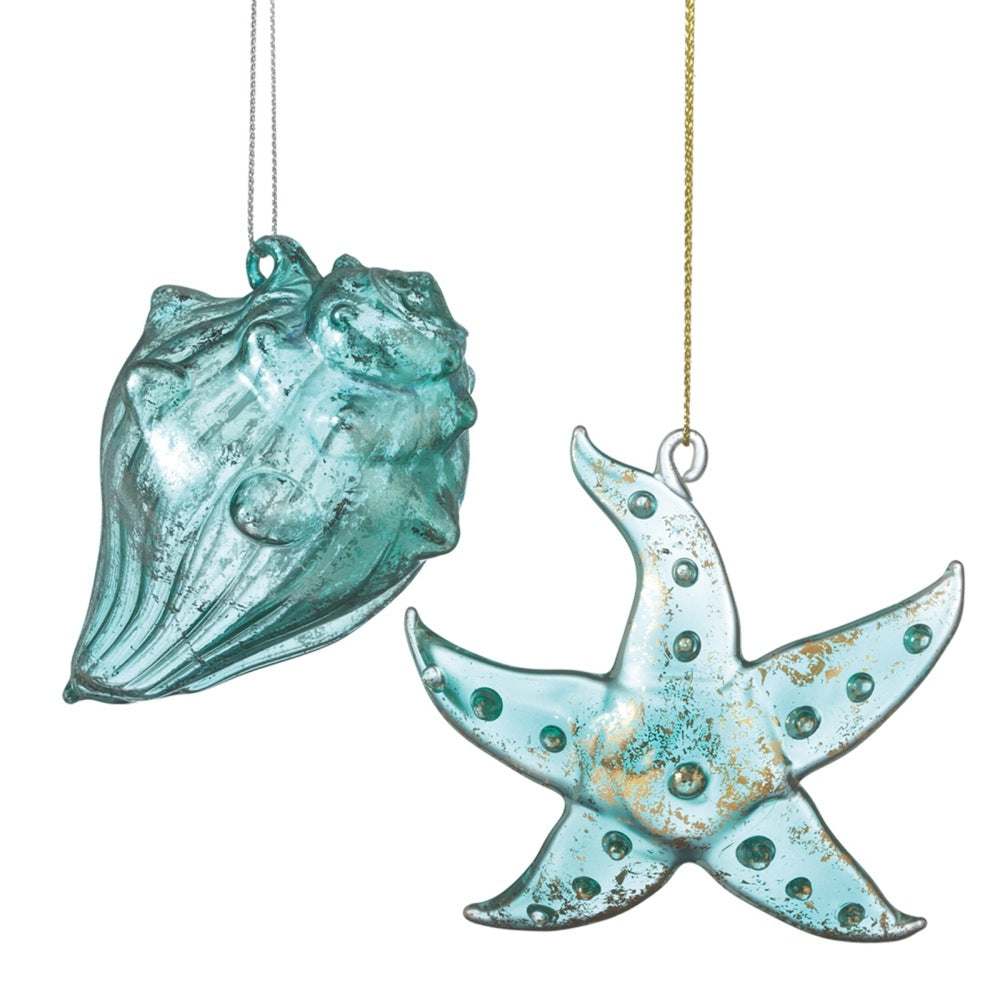 Star Fish & Conch Shell Ornaments - Blue-Green Glass