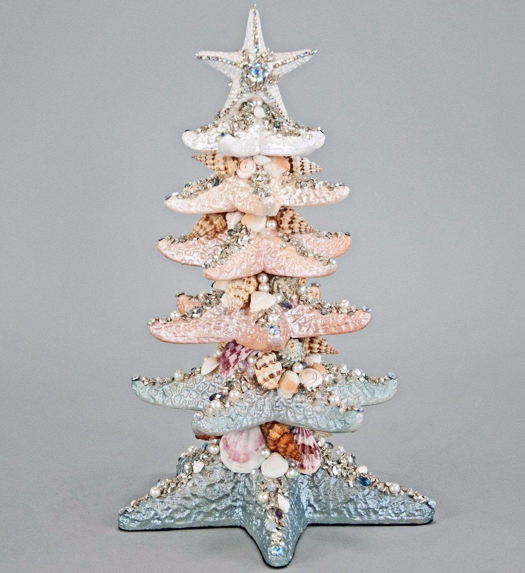 starfish christmas tree tabletop coastal decor - Coastal Christmas Decor