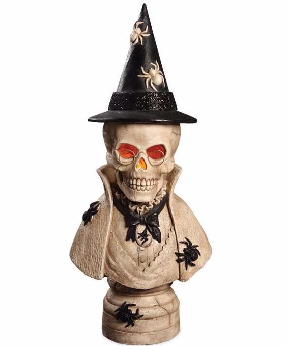 Stonella Bust Skeleton Witch Statue Prop