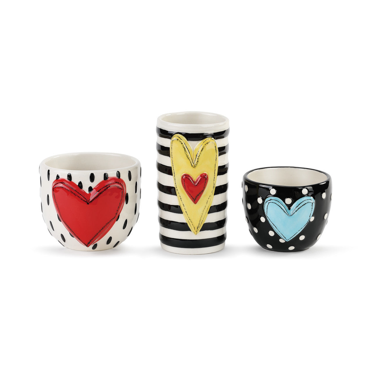 Heart Vases / Snack Cups with Stripes and Dots, Stoneware