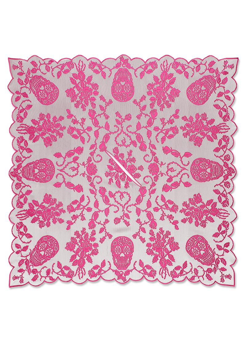 Skull and Roses Pink Poncho