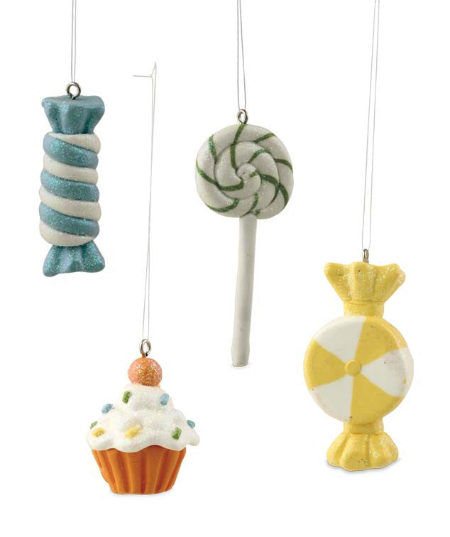 Sweet Treats Candy Ornaments - Faux Lollipop Cupcake Taffy
