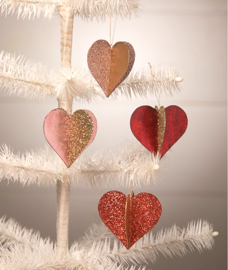 Sweet Heart Glitter and Foil Ornaments