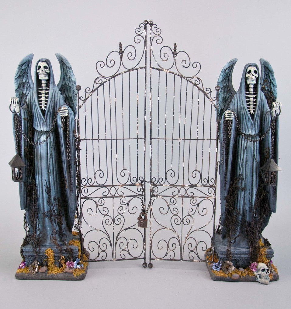 Tabletop Cemetery Gate with Grim Reaper Statues by Katherine's Collection