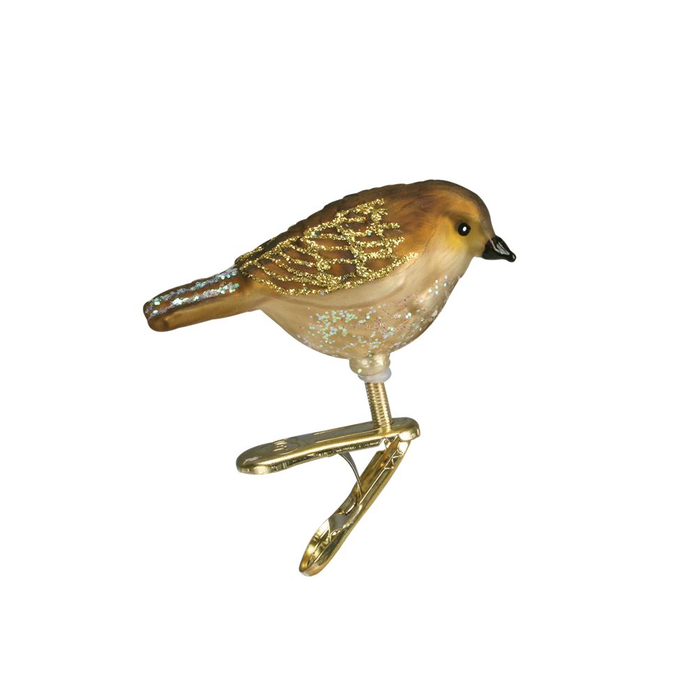 Little Tan Bird - GLass Ornament Clip
