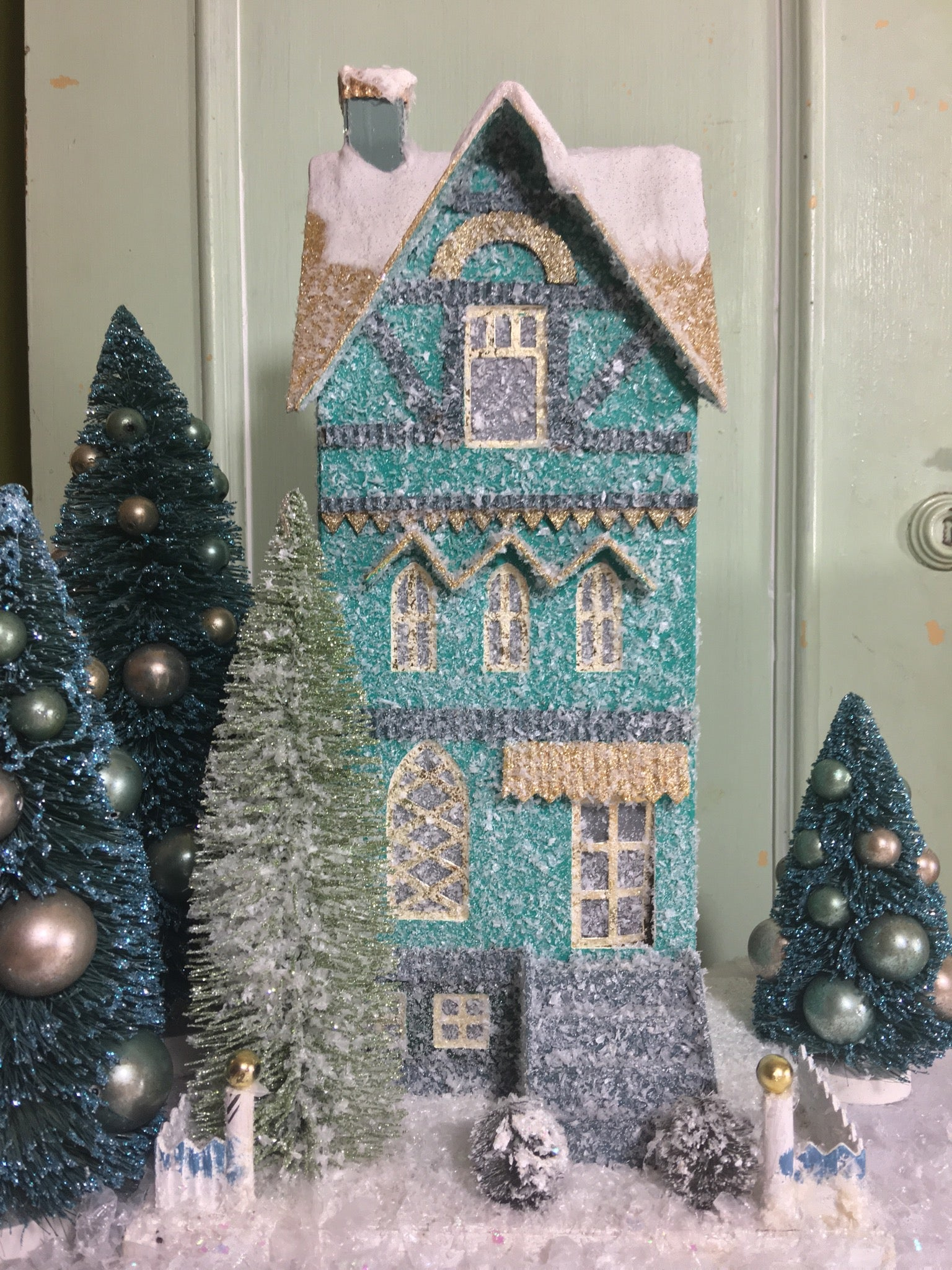 Teal Townhouse - Putz Christmas Houses
