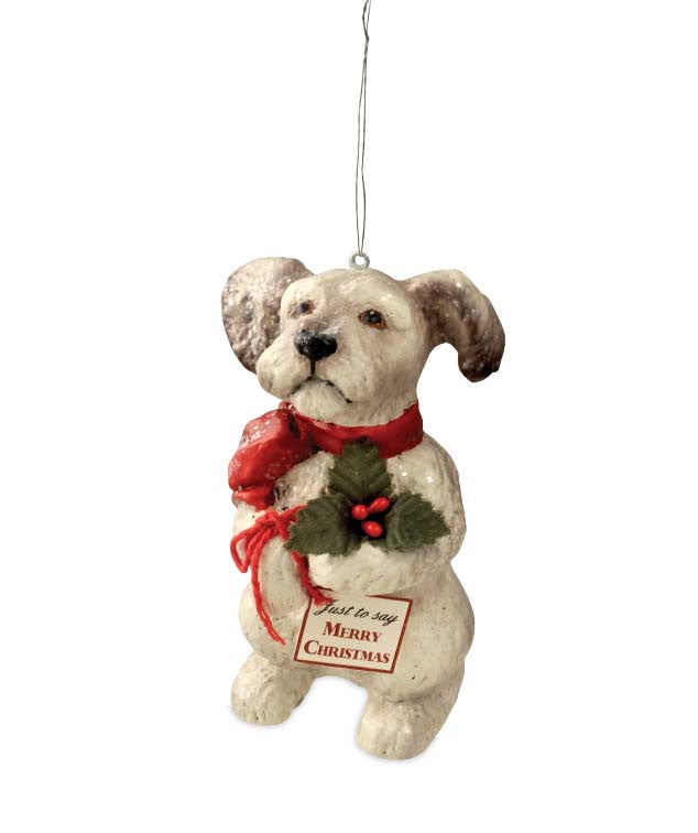 Bethany Lowe Terrier with Holly Puppy Ornament