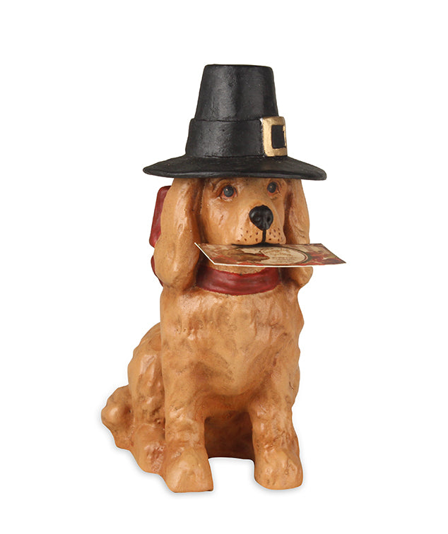 Bethany Lowe Thanksgiving Dog in Pilgrim Hat