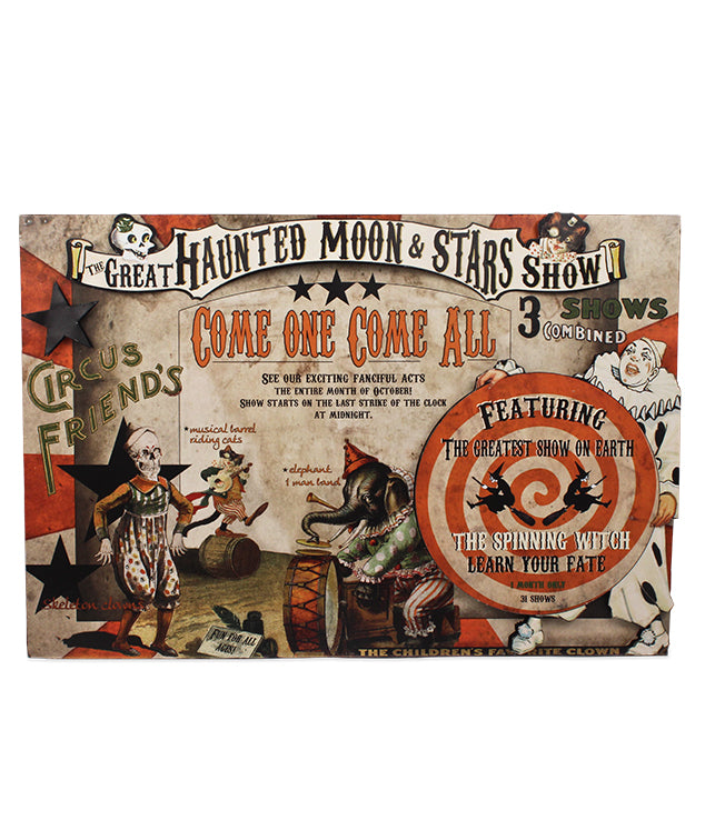 The Great Haunting Moon & Stars Show Halloween Tin Sign