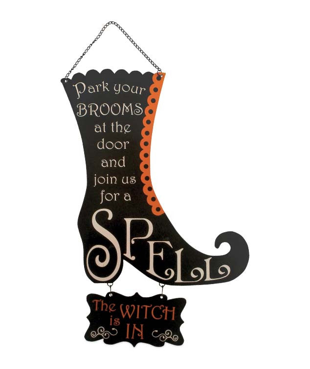 Witch is In or Out Wiches Boot Tin Sign
