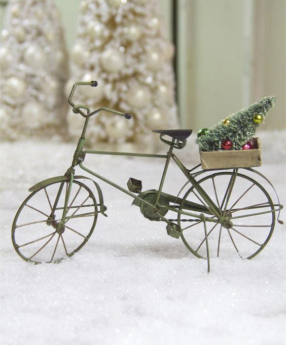 Tin Bicycle Ornament with Tree - Antique Green Bike