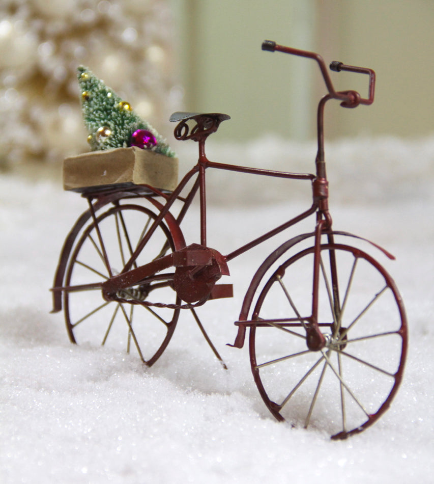 Tin Bicycle Ornament with Tree, Red Christmas Bike