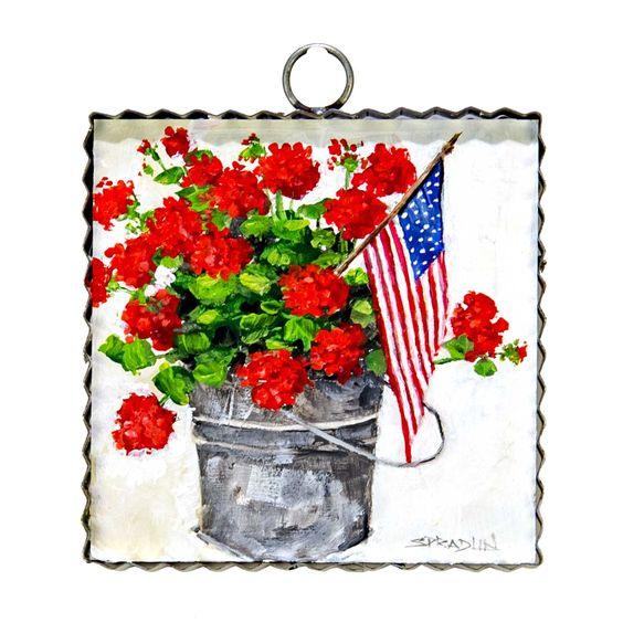 Tin Bucket of Geraniums with American Flag Wall Art