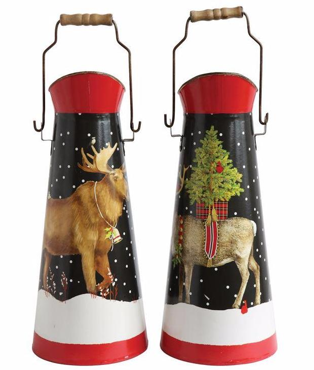 Christmas Reindeer & Moose Tin Buckets by Mary Lake Thompson