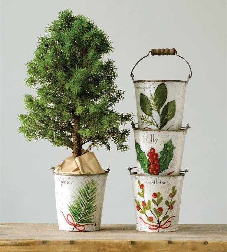 Tin Christmas Buckets with Botanicals