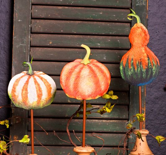 Metal Gourd & Pumpkin Stakes - Harvest Decorations