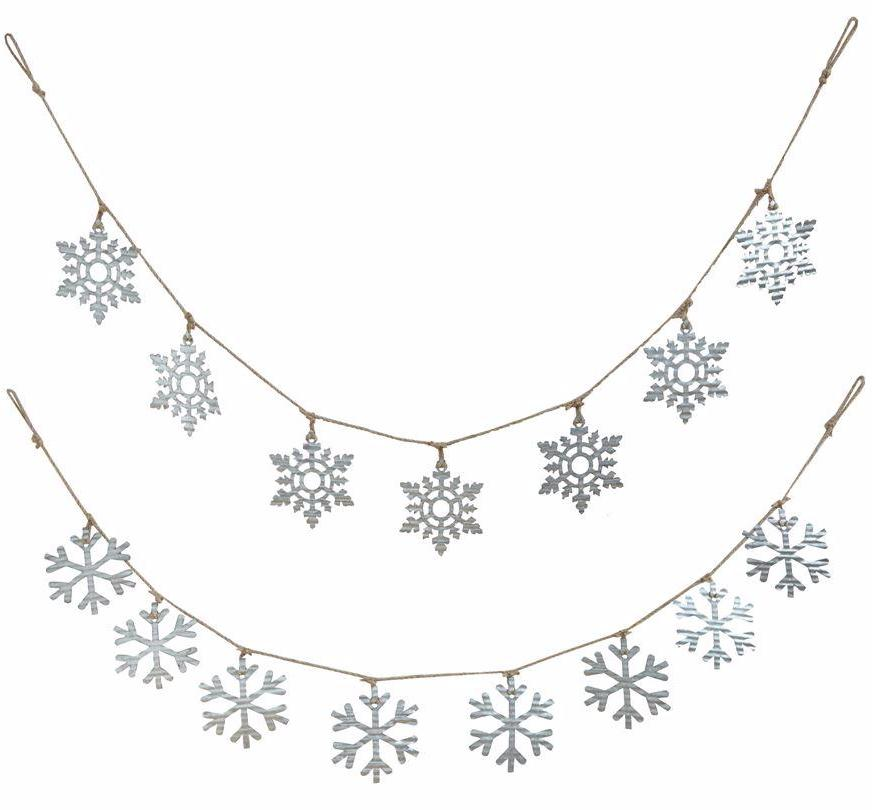 Tin Snowflake Garland with Galvanized Metal Snowflakes