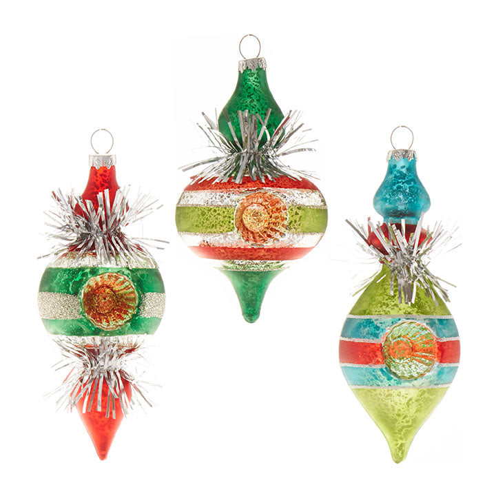 Retro Tinsel Finial Stripe Ornaments