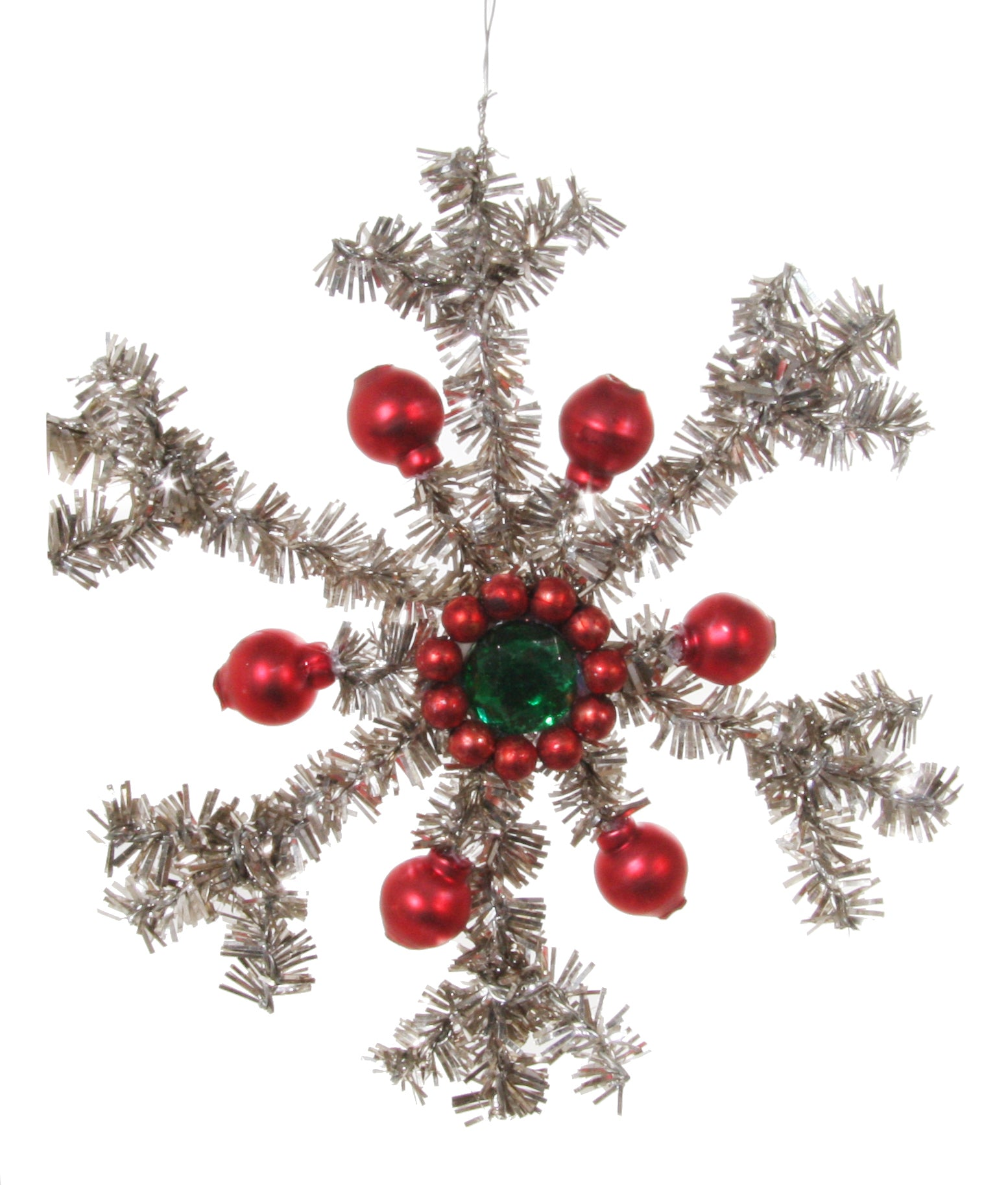 Tinsel Snowflake with Glass Beads