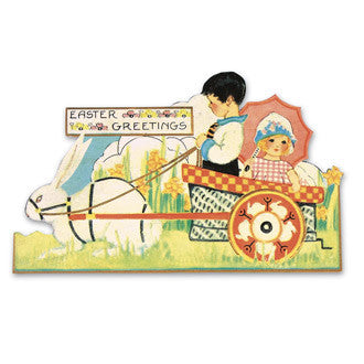 Children in Cart Tin Sign
