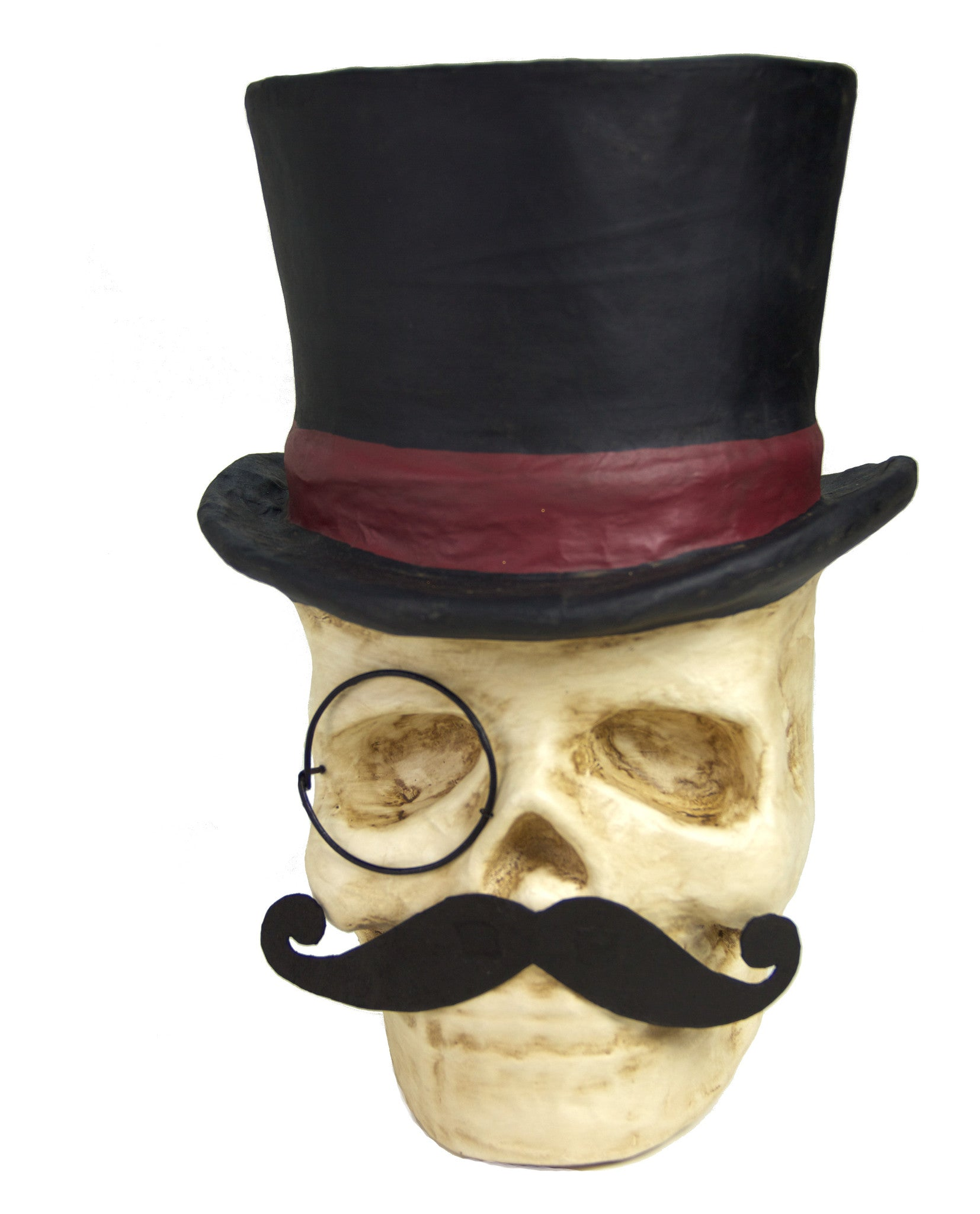 Top Hat Skull with Monocle & Mustache Candy Bucket - Paper Mache Halloween