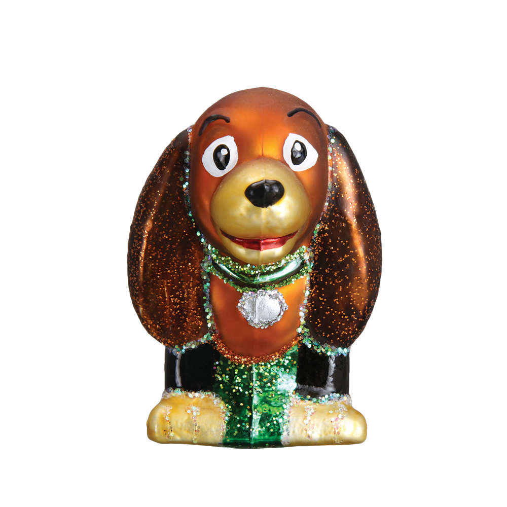 Retro Toy Coil Dog Ornament - Front View