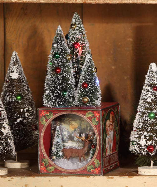 traditional christmas shadowbox with bottle brush trees