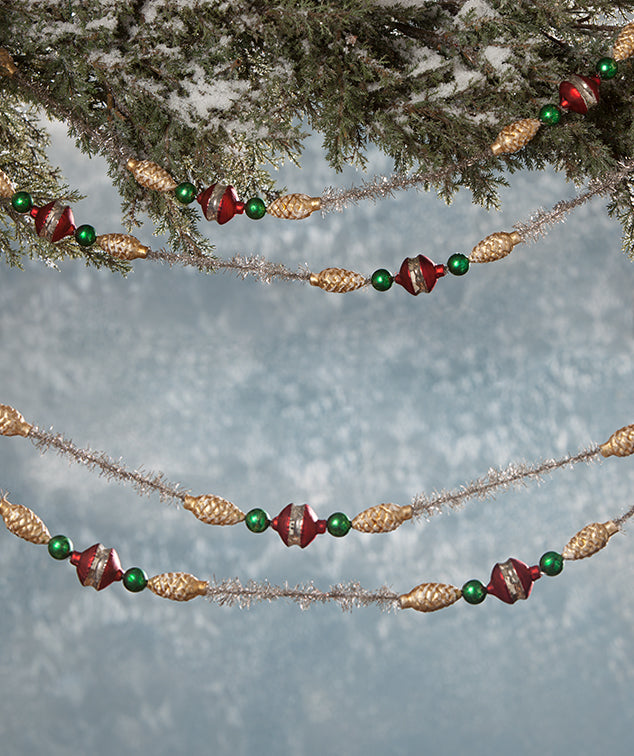 Traditional Pinecone & Tinsel Garland by Bethany Lowe