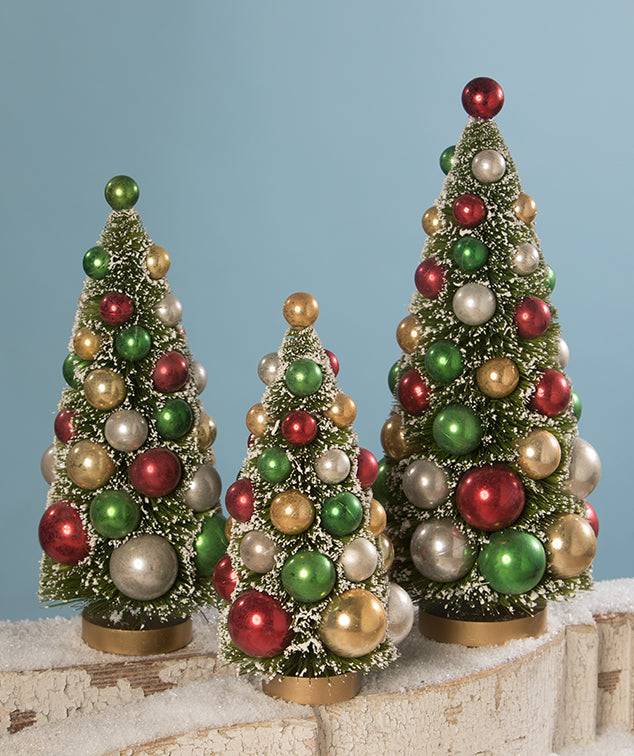 Traditional Bottle Brush Trees with Red, Green, Silver, and Gold Balls